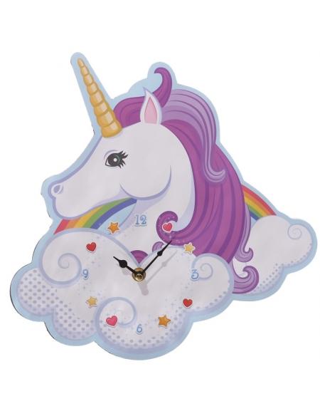 horloge-murale-licorne-blanche-a-criniere-mauve